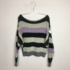 Free People off the shoulder striped sweater grey